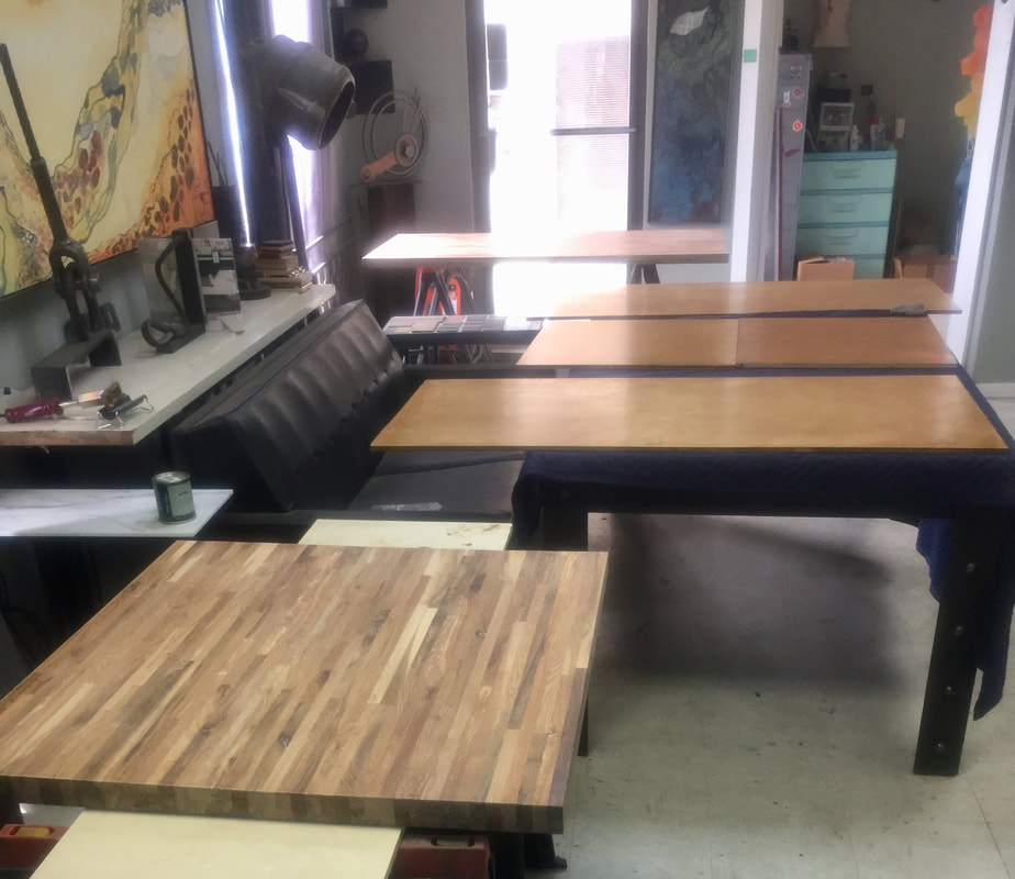 reclaimed wood tables san antonio, wanderlust ironworks, pulp coffee