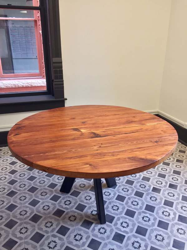 reclaimed wood table with custom welded steel table base, long leaf pine and iron furniture San Antonio