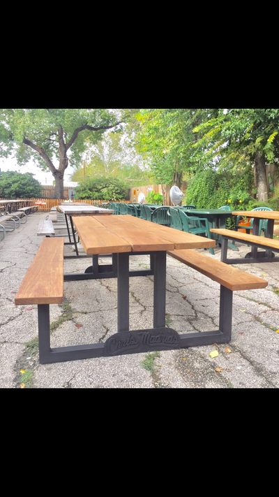 Custom Reclaimed Wood and Iron Tables San Antonio  : resturant furniture san antonio custom resturant fixtures custom resturant bars san antonio custom welded storefront fixtures custom welded promotional products custom picnic tables san antonio chris madrids tables texas picnic tables2 from www.wanderlustironworks.com size 400 x 711 png 348kB